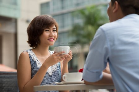 Lady having date in a cafe