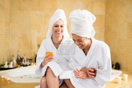 Women together in spa center