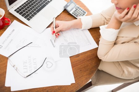 broker working with documents