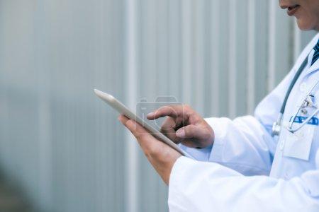 medical worker  using digital tablet