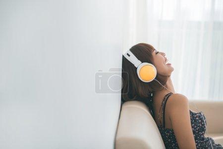 woman listening to the radio