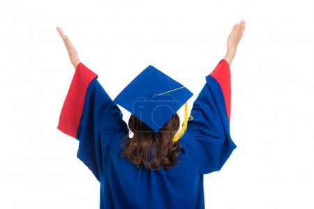 college graduate with arms outstretched