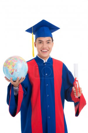 high school graduate with globe and certificate