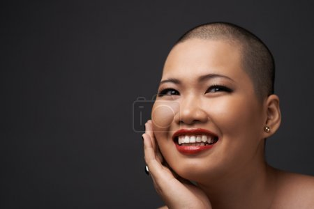 woman with perfect skin smiling