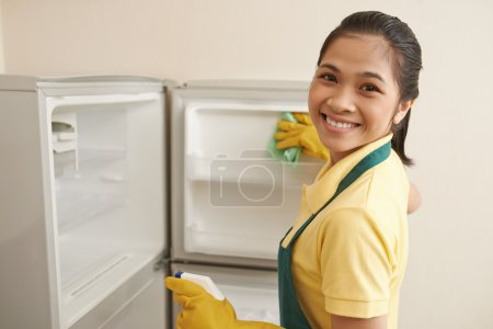 Woman Wiping new freezer