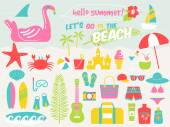 summer beach illustration setvector illustration