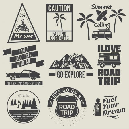 Illustration for Road trip badges,travel quote - Royalty Free Image