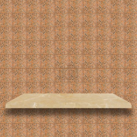 top marble shelves with yellow brown marble wall