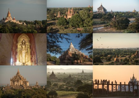 the collage Mandalay, Myanmar photos