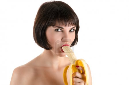 fashion sexy woman eating banana
