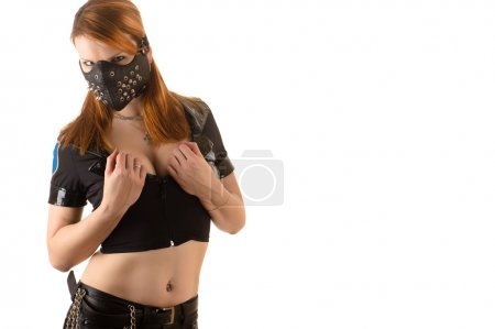 Photo for Beautiful woman police officer in mask with spikes isolated on white background - Royalty Free Image