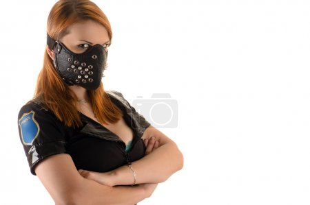 Photo for Beautiful police woman in mask with spikes isolated on white background - Royalty Free Image