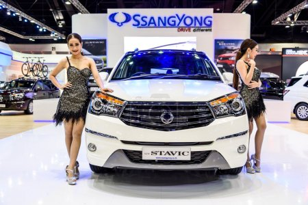 Female presenters model with SsangYong