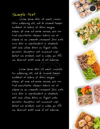 Photo for Sushi, fettuccine, roasted pork, grilled pork with eggs, and Shrimp and vermicelli baked with herbs cooked by clean food concept with easy removable sample text on black background on left side - Royalty Free Image
