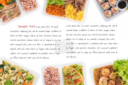 Photo for Sushi, stir fried fish, fettuccine, roasted pork, grilled pork with eggs, and Shrimp and vermicelli baked with herbs cooked by clean food concept on white background with easy removable sample text - Royalty Free Image