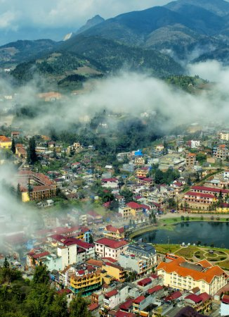Sapa in the mist, lao cai, vietnam.