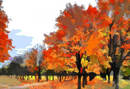 Art autumn landscape as oil painting. Grunge picture showing trees.