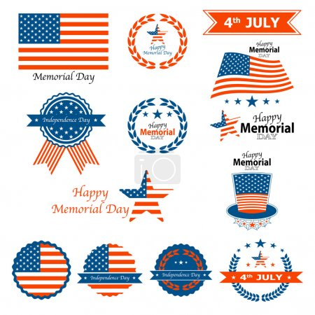 Happy Memorial Day badges and labels