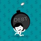 man bearing debt bomb financial problem