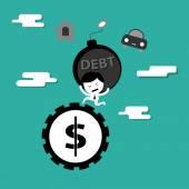 man bearing debt bomb running on money wheel
