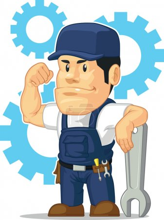 Cartoon of Strong Mechanic with Wrench