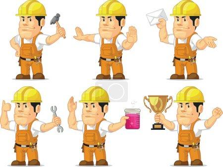 Illustration pour Ensemble vectoriel d'un ouvrier de la construction de sexe masculin dans plusieurs poses. Dessiné dans le style de dessin animé, ce vecteur est très bon pour la conception qui ont besoin d'élément de chantier de construction dans le style mignon, drôle, coloré et joyeux . - image libre de droit