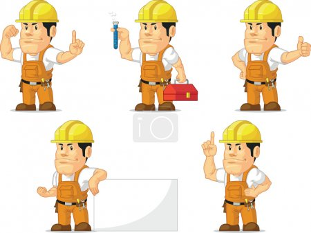 Illustration for A vector set of a male construction worker in several poses. Drawn in cartoon style, this vector is very good for design that need construction site element in cute, funny, colorful and cheerful style. - Royalty Free Image