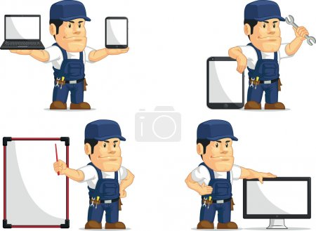 Illustration for A vector set of a male mechanic in several poses. Drawn in cartoon style, this vector is very good for design that need mechanic or garage element in cute, funny, colorful and cheerful style. - Royalty Free Image