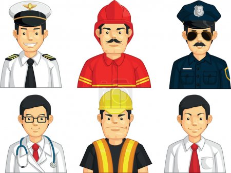 Photo for A vector set of construction worker, doctor, fire fighter, pilot, police officer, and office worker. Drawn in cartoon style, this vector is very good for design that needs professions element in cute, funny, colorful and cheerful style. - Royalty Free Image