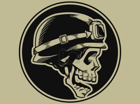 Retro Motorbike Skull Biker Badge