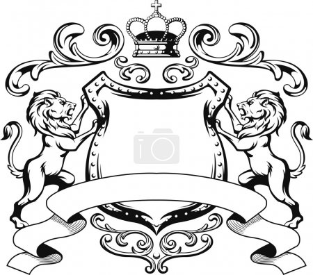 Illustration for A vector image of a heraldry lion crest vector. This vector is very good for design that needs coat of arm vector element or design. - Royalty Free Image