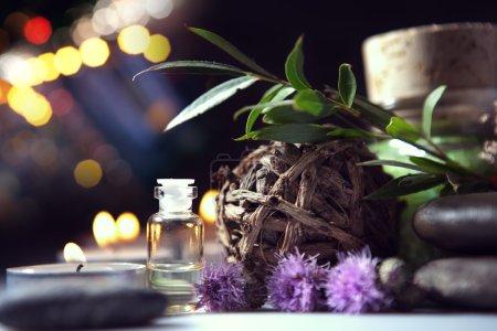 Photo pour Aromathérapie et accessoires pour le spa sur fond blanc - image libre de droit