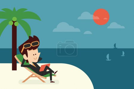 Illustration for Businessman on vacation flat design, vector - Royalty Free Image