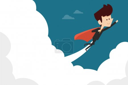 Illustration for Businessman flying on sky flat design - Royalty Free Image
