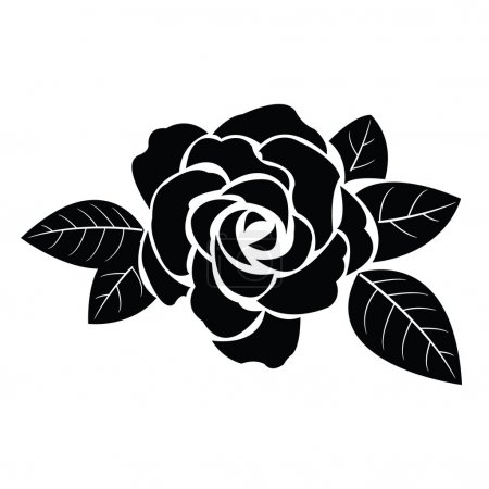 Illustration for Black silhouette of rose with leaves - Royalty Free Image