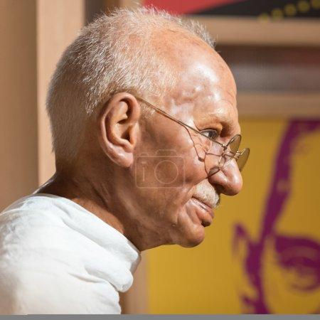 Waxwork of Mahatma Gandhi on