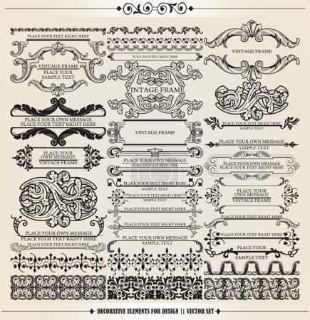Photo pour Set vectoriel : éléments de conception calligraphique et décoration de page - beaucoup d'éléments utiles pour embellir votre mise en page - image libre de droit