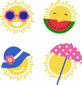four sun icons happy summer holidays