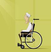 Old man senior with grey hair sit in wheelchair