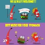 Постер, плакат: A group of friendly Fast Food meals