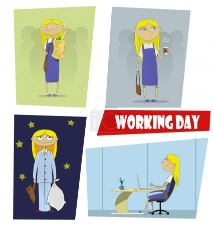 Four fun cartoon illustrations of the working day