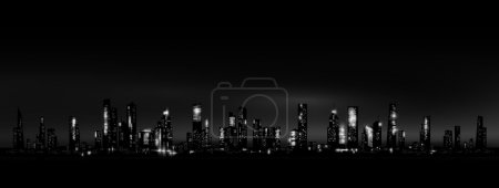 Illustration for Night city skyline. Vector eps 10 - Royalty Free Image