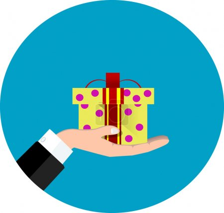 Illustration for Vector hand giving present in flat style - gift concept illustration - Royalty Free Image