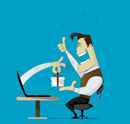 Illustration pour Illustration montrant un magasin en ligne productif et réussi - image libre de droit