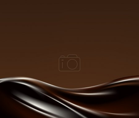 Illustration pour Onde chocolat liquide foncé sur fond broun - image libre de droit
