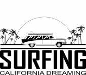 Retro Happy Hippie Vintage Tropical Surfboard  Car Vector Illustration