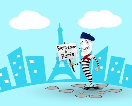 Cartoon mime in France. Vector eps 10...