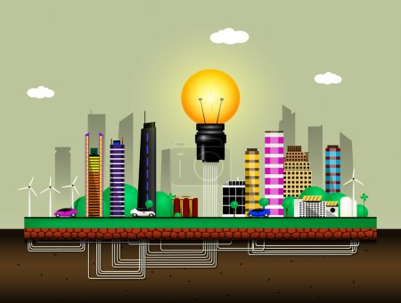 Illustration for Conceptual image of the city of the future. City uses solar and wind energy for its own needs. Vector - Royalty Free Image