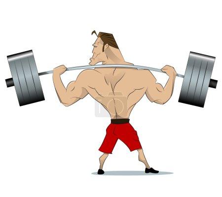 Bodybuilder raises barbell