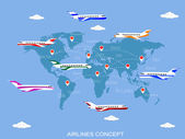 Vector illustration sky travel with the world map